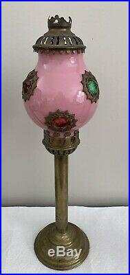 Antique Victorian Brass Jeweled Fairy Lamp Candle Holder Jewels Pink