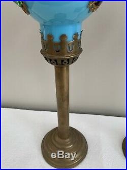 Antique Victorian Brass Jeweled Fairy Lamp Candle Holder Pair Jewels Pink Blue