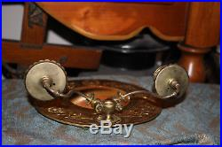 Antique Victorian Brass Metal Double Arm Candle Holder Circular Wall Mirror