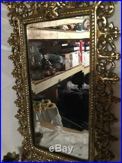 Antique Victorian French Chinoiserie Brass Mirror with Candelabra Candleholders
