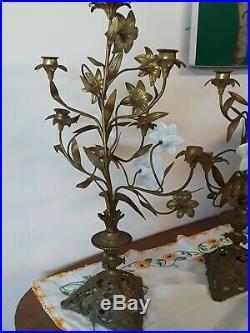 Antique Victorian French Gold Gilt Brass Floral Candelabra Glass Flower 19th Cen