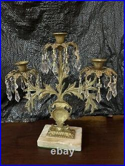 Antique Victorian Girandole Candelabras With Crystal Tear Drops and Marble Bass