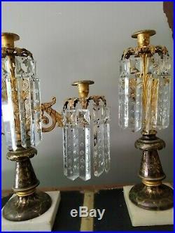 Antique Victorian Girandoles Candelabra Candle Holders Crystal, Cornelius, Brass