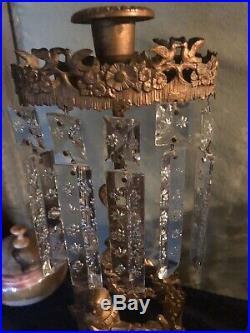 Antique Victorian Girandoles Gilt Ormolu Brass Candelabra Set With Marble Base