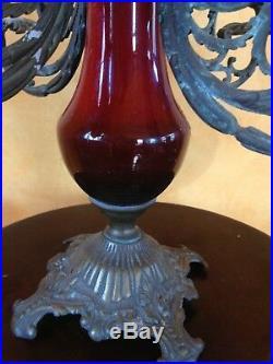 Antique Victorian Nouveau Cast Bronze Brass Candelabra Candleholder Centerpiece