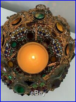 Antique Victorian Ormolu Brass Jeweled Fairy Lamp Candle Holder Chandelier Shade