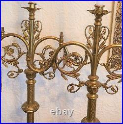 Antique Victorian Wedding 28 Brass Church Alter Candlesticks Original Patina