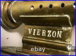 Antique Vierzon Railway Train Carriage Wall Sconces Candle Holders Brass Glass