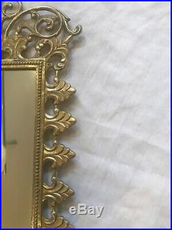 Antique Vintage Bacchus Solid Brass Mirror Candle Holder Wall Scone Fixture