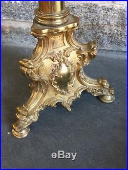Antique Vintage Brass Alter Candle Stand Holder Pedestal