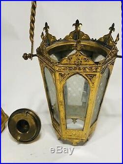 Antique Vintage Brass Church Altar Processional Torch Candle Holder Lantern Read