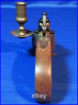 Antique Vintage Flintlock Pistol Tinder Lighter Brass Wood Candle Holder