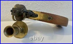 Antique Vintage Flintlock Pistol Tinder Lighter Brass Wood Candle Holder Italy