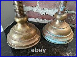 Antique Vintage Pair of Gothic Church Religious Brass Candleholders