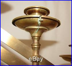 Antique Vintage Solid Brass 6 Candle Holder Candelabra Church Gothic Steampunk