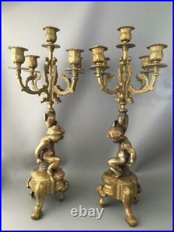 Antique Vtg Italian Brass Bronze Cherubs Putti Candelabra Candle Holder Pair
