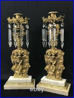 Antique Vtg Ornate Marble Gilded Candle Stick Pair Crystal Prisms Italy French