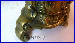 Antique Vtg Pair Brass CANDLEHOLDERS Candlesticks FRENCH ROCOCO SHELL Flowers