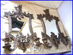 Antique Vtg Pair of Mirror Backed Bronzed Wall Sconces Candleholders