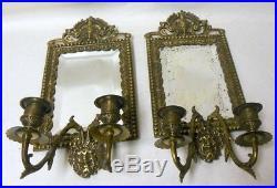 Antique Vtg Pair of Mirror Sconces Candleholders Bacchus Dionysus Grape WINE