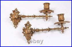 Antique Wall Sconce Brass Swiveling Candle Holders