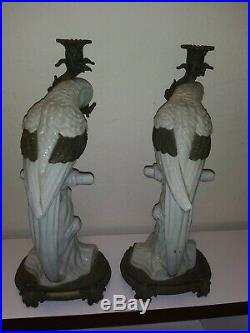 Antique White Porcelain Parrot Candleholder with Brass Accents (set of 2)