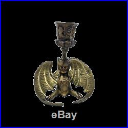 Antique brass gothic occult evilwinged sphinx chamberstick candle holder