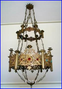 Antique church neo gothic brass religious chandelier candle holder Lamp stones