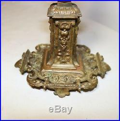 Antique ornate 1800's gilt bronze Victorian candelabra candlestick holder brass