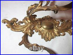Antique ornate dore bronze rococo style wall candle holder sconce fixture brass