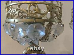Antique pair Brass and crystal candelabra made in Spain