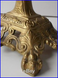 Antique pair griffin candlesticks, bronze candle holders, winged dragon gothic