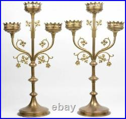 Antique pair religious brass church altar candelabras candle holder neo gothic