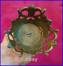 Antique rare bronze brass CANDLESTICKcandle holder candelabra ears vintage