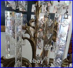Antique set Victorian girandole French crystal candelabra candle holders brass