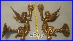 Art Deco-Victorian Angel Dragon Wall Sconce Candle Holder pair