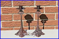 Art Nouveau Brass Candlesticks Jugendstil Secessionist Antique Candle Holders
