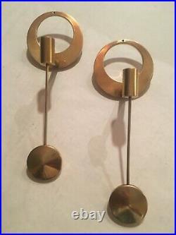 Arthur Pe for Kolbäck. Wall candle holders candlesticks in brass. Rare Kolback