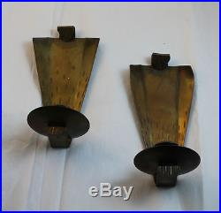 Arts crafts roycroft pair of brass wall mount sconces for Arts and crafts candle sconces