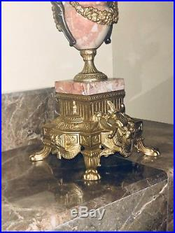 Auth. Italian Rococo antique pink MaRbLe Brevettato 2 brass Candelabras candle