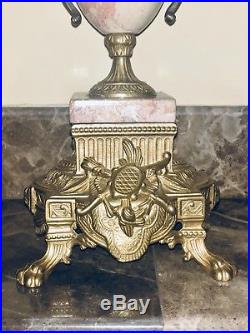 Auth. Italian Rococo antique pink MaRbLe Brevettato 2 brass Candelabras candle