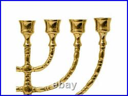 Authentic 12 Inch Brass Copper Menorah Vintage Candle Holder Israel Judaica Gift