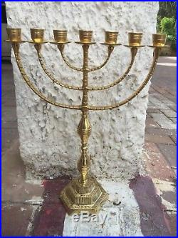 Authentic 17 / 42 cm brass copper massive Menorah candle holder Israel Judaica