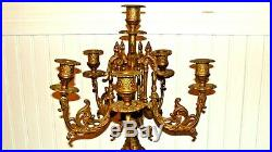 BREVETTATO Antique/Vintage Brass 6 Arms Baroque Style Candelabra 23.7T, Italy