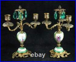 Bd Pair Antique French Sevres Style Porcelain & Brass Candelabras