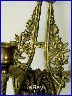 Beautiful 18 Antique Ornate Brass Wall Sconce 3 Arms Candle Holder Bow Leaves