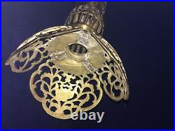 Beautiful Antique Brass Filigree Candle Holder 22 1/2 Tall