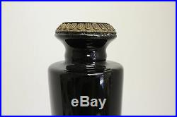 Beautiful Black Porcelain Candle Stick Holder with Ormolu Brass Accents 15.5