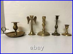 Beautiful Collection 25 Brass Candlesticks Candle Holders & Snuffer Wedding Vtg