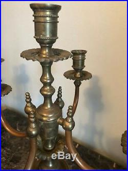 Beautiful Pair of 5-Arm Candle Holder Heavy Brass Candelabras